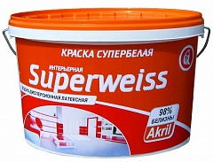 Краска водно-дисперсионная Гермес SUPERWEISS супербелая 14 кг